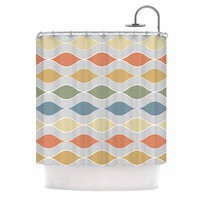 Julia Grifol Waves White Gray Geometric Pattern Digital Vector Shower Curtain