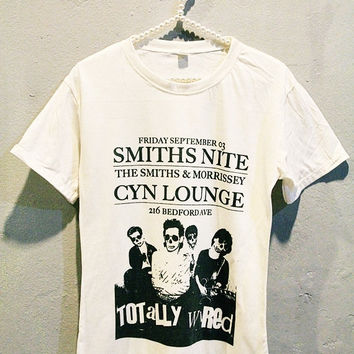 The Smiths Morrissey Tee Shirt Punk Rock Women T Shirts Off White TShirt Size L