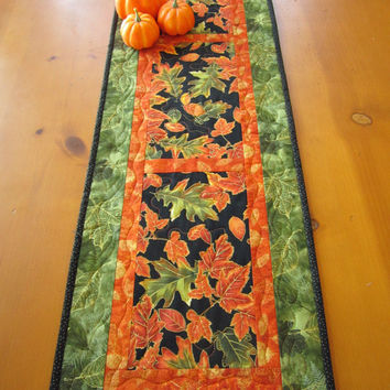 Fall Quilted Table Runner Handmade Orange and Green Autumn Leaves Home Decor