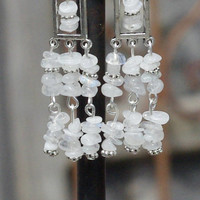 Moonstone Chandelier Earrings ~ Iridescent Chip Stones ~ Statement Jewellery ~ Wedding Wear ~ Prom ~ Graduation Gift ~ Anniversary