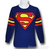 Superman Symbol Blue Sweater w/Striped Arms