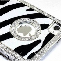LiViTech(TM) Cushion Quilted Designer Diamond Rhinestone Crystal Bling Case iPhone 4 4S (AT&T ,VERIZON,SPRINT) (Zebra Silver):Amazon:Cell Phones & Accessories