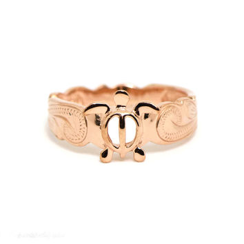 Rose Gold Sterling Silver Hawaiian Honu Turtle Ring