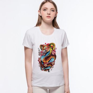 Summer Style Angry Tiger mermaid t shirt  Kawaii cat fish Unicorn printed cropped t shirts for womens Female Tops L1-9#