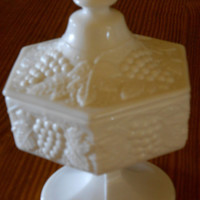 Milk Glass Candy Dish by Imperial Glass Grape and Leaves