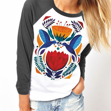 Love Birds | Unisex Raglan T-Shirt | 3/4 sleeves | Basketball shirt | Apparel for her / him | Watercolor | Hummingbirds | Ethnic | ZuskaArt