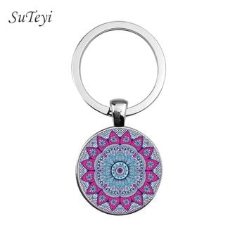SUTEYI Fashion Women Handbag Keychain Yoga Chakra Spirital Glass Key Chain Mandala Key ring India Buddhist Meditation Jewelry