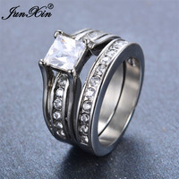JUNXIN New Crystal White Geometric Ring Set Fashion Stainless Steel Ring Vintage Wedding Engagement Rings For Men And Women