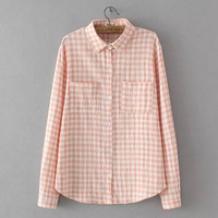 Plaid Long-Sleeve Button Collar Shirt With Pocket