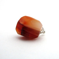 Orange agate ring, sterling silver wire wrapped ring, burnt orange gemstone ring, orange statement ring, orange agate jewelry
