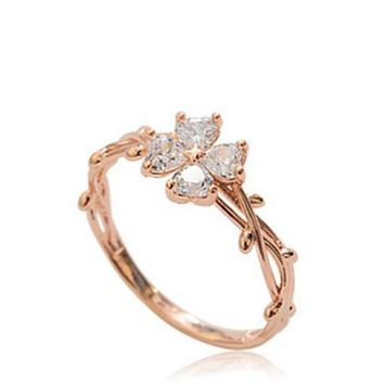 High Quality Lucky Four-Leaf Clover CZ Stone Rings For Women Flower Vine twine Pretty Rings Jewelry