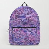 Purple and faux silver swirls doodles Backpack by savousepate