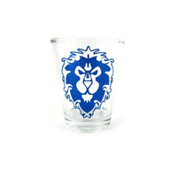 Glitter World of Warcraft Alliance Symbol Glitter Shot Glass Love quote geeky nerd craft gamer craft wow