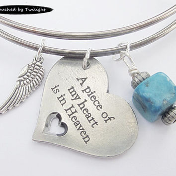 Adjustable Bangle Bracelet - Antique Gun Metal Sliverplate - A piece of my heart is in Heaven - with Blue Sesame Jasper stone and angel wing