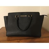 MICHAEL Michael Kors Small Black Leather Mercer Studio Tote Bag