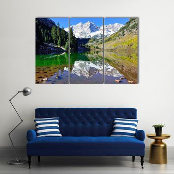 View Of The Maroon Bells During Foliage Season Multi Panel Canvas Wall Art