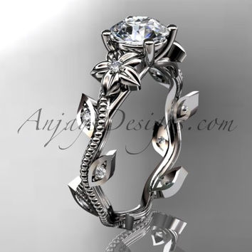 platinum diamond leaf and vine wedding ring,engagement ring. ADLR151. nature inspired jewelry