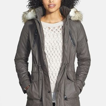 Women's Laundry by Shelli Segal Coated Parka with Faux Fur Trim