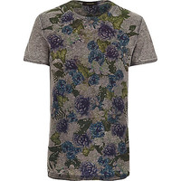 River Island MensDark grey floral placement print t-shirt