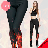 Mix City Hot Sale 3d Fire Print Spring Summer Dress Women Leggings Fashion Ladies Fitness Pants Female High Elastic and Quality