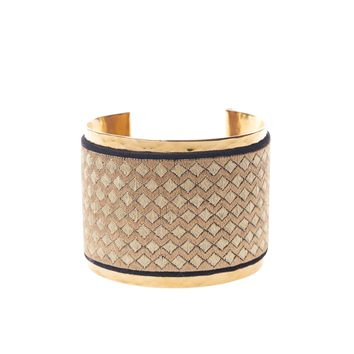 Gold Cuff with Metallic Diamond Embroidery: One of a Kind