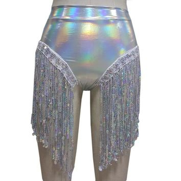 Holographic High Waist Fringe Shorts