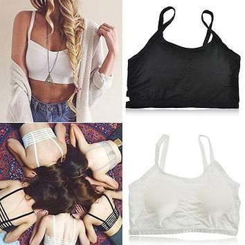 Women's Sexy Bralette Caged Back Cut Out Strappy Padded Bra Bralet Vest Crop Top 09WG