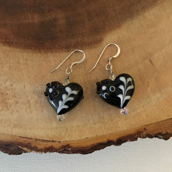 Black Heart Earrings, Lampwork Earrings, Valentines Earrings, Earrings For Her