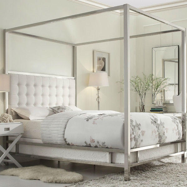 Full size ... & Queen Size Metal Canopy Bed with White from Hearts Attic | Quick