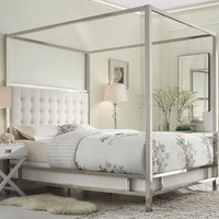 Full Size Metal Canopy Bed with White Faux Leather Upholstered Headboard