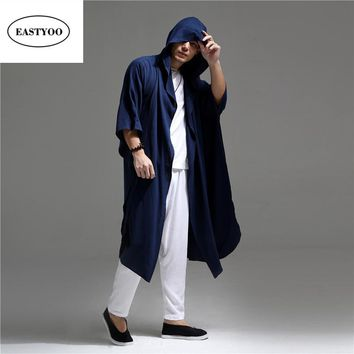 Linen Trench Coat Men Summer Thin Long Trench Coat Hooded Cardigan Loose Casual Arabic Robes Men's Hooded Cardigans Coat