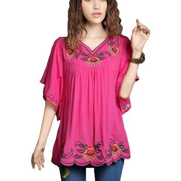 2016 New Hot vintage 70s mexican Ethnic Floral Hippie Women blouses / shirt Female Clothing Tops Tunic Long Sleeve B552