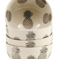 4 PK Stoneware Black/White Pineapple Bowls