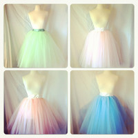 Tea Length Tulle Tutu Skirt with Satin Sash Customize your Colors