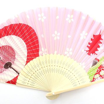 Traditional Japanese Silk Handheld Folding Fan 022 with carry case