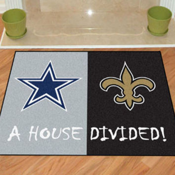 "NFL - Dallas Cowboys - New Orleans Saints House Divided Rugs 34""x45"""