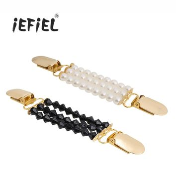 iEFiEL Women Beaded Sweater Shawl Clips Cardigan Collar Duck-mouth Plated Metal Clip Holder Garters Accessories