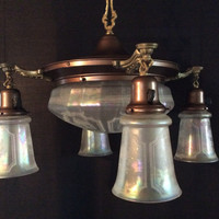 Antique Victorian Drop Light Chandelier 4 Opalescent Acid Etched Shades With Lge Center Shade 1900 - 1910