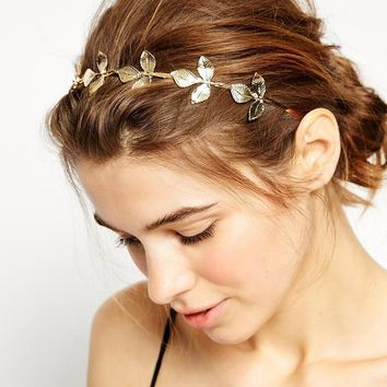 Vintage Tiara Gold Leaves Crown Headband