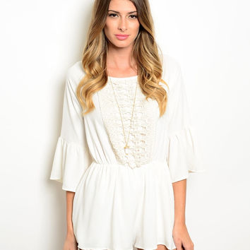 April Open Back Playsuit - Ivory