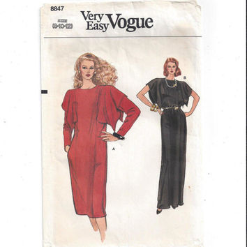 Very Easy Vogue 8847 Pattern for Misses' Dress, Size 8, 10, 12, from 1980s, FACTORY FOLDED, UNCUT, Vintage Pattern, Home Sewing Pattern