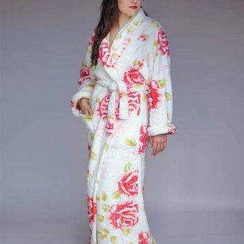 SWAN'S DOWN ROBE - Rose Floral Bathrobe