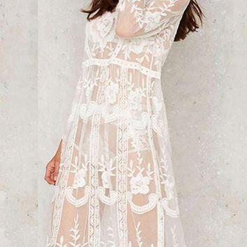 White Flowers Print Lace Hollow-out Grenadine Boho Wedding Midi Dress With Cowboy Boots