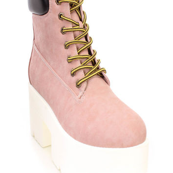 Blush Lace Up Chunky Platform Booties Faux Leather