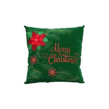 "Holiday Time 14"" Green Velvet Pinecone Pillow With Embroidery"