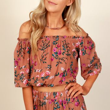 Floral Dreams Crop Top Copper