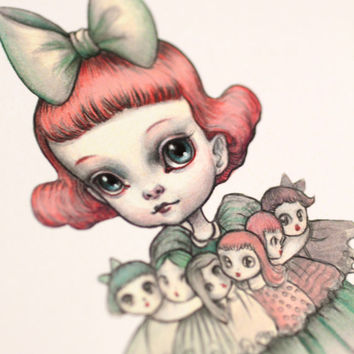 The Dolly Collector - set of 3 blank note cards -  pop surrealist Blythe doll lover - by Mab Graves