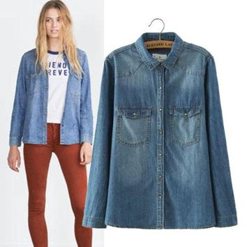 DCCKIX3 Women's Fashion Stylish Rinsed Denim Long Sleeve Denim Shirt Slim Blouse [4918964868]
