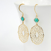Matte Gold Filigree Pendant Dangle Earrings with Emerald Green Faceted Glass Drops
