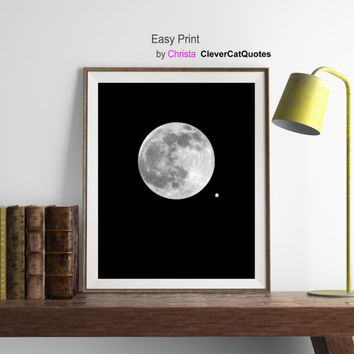 Moon print, Moon phase art, Moon printable, Moon digital, Full moon, Northern star, Space art, Moon wall decor, Instant download, Moon art